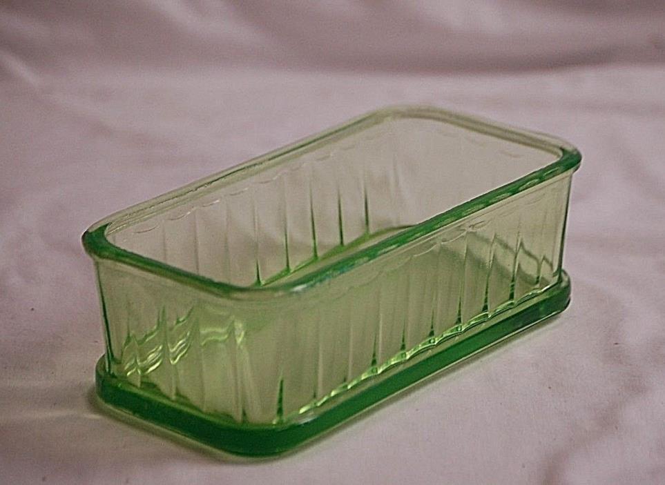 Old Vintage Vaseline Green Depression Glass Refrigerator Dish Storage Box Ribbed