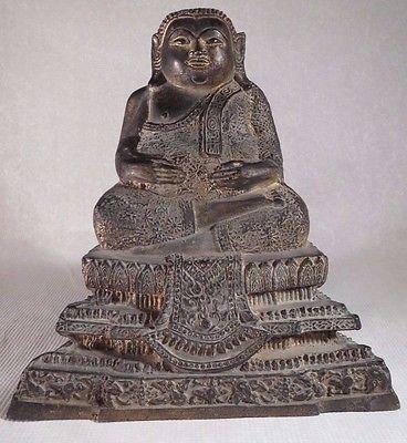 ANTIQUE 19THC CHINESE BRONZE SEATED BUDDHA STATUE