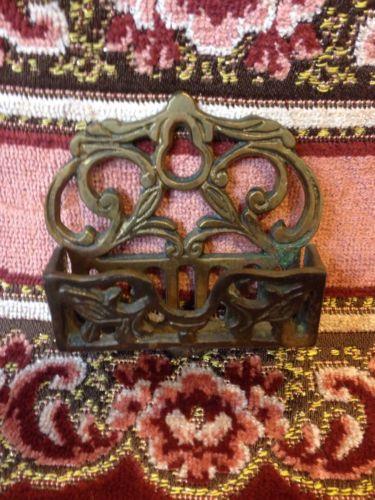 Antique Victorian Brass Wall Match Holder