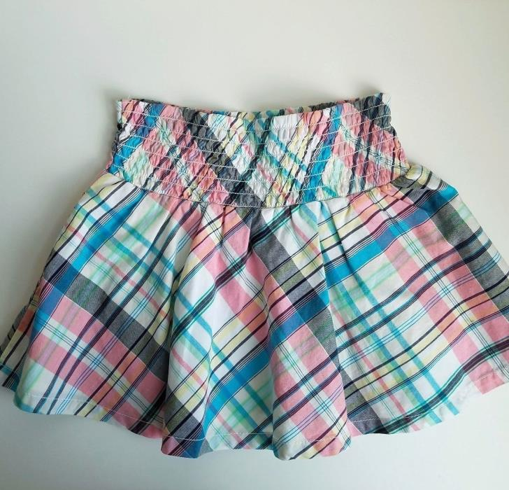 Tommy Hilfiger Girls Skirt Aline Toddler Plaid Stripes Flare Smocked Top Size 4T