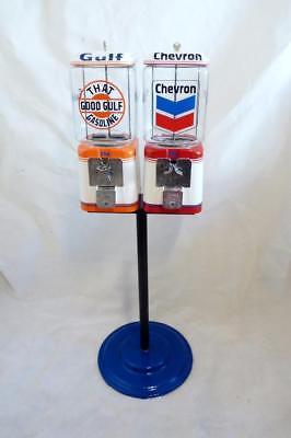 double Acorn gumball machine +candy machine glass globe Gulf gas+ Chevron gas