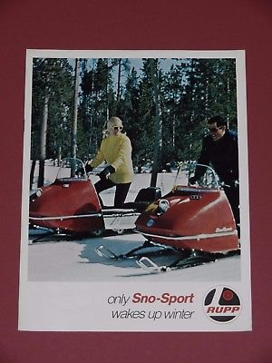 1969 Vintage RUPP SNO-SPORT SNOWMOBILE SALES BROCHURE 8 Pages 8 1/2