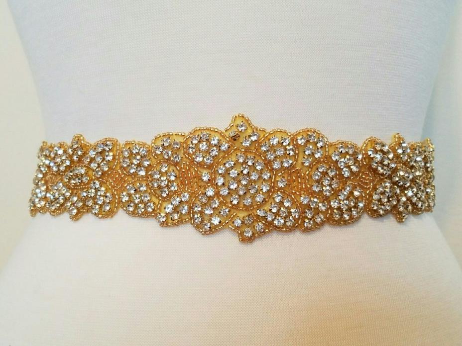 Wedding Bridal Sash Belt, GOLD CLEAR RHINESTONE Wedding Dress Sash Belt