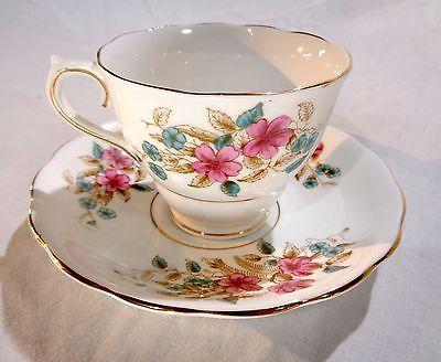 Colclough English Bone China England Pink and Blue Floral Teacup saucer gold