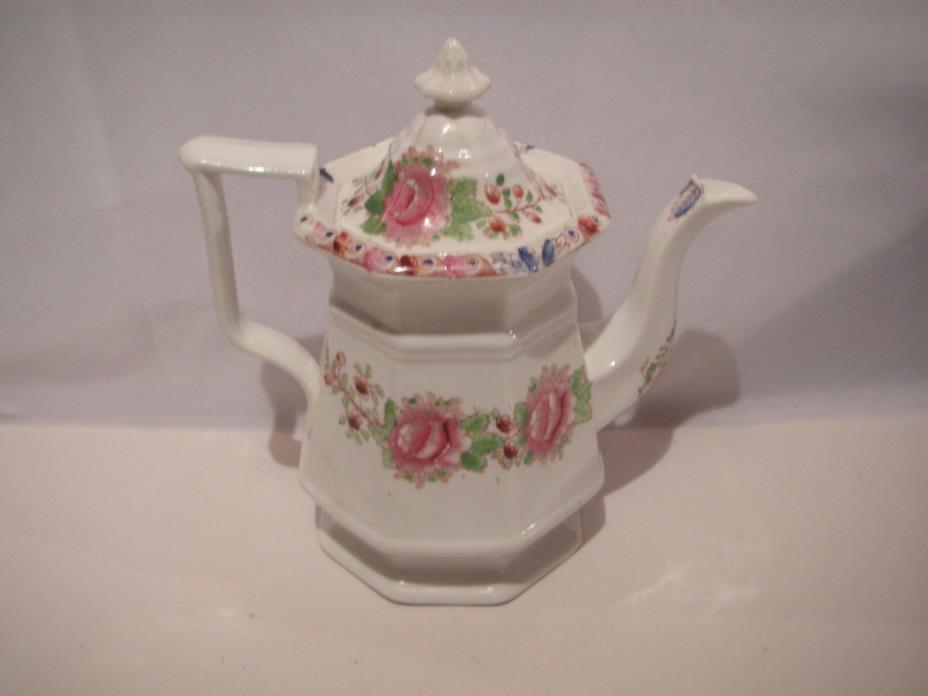 OLD, CIRCA 1850'S STAFFORDSHIRE SOFT PASTE PORCELAIN TEAPOT, HAND PAINTED