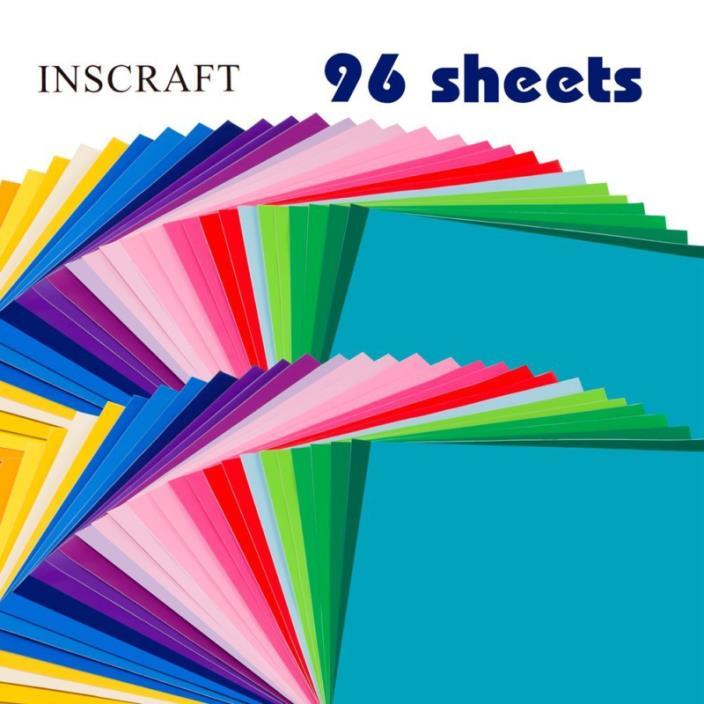Inscraft 96 Sheets Premium Permanent Self Adhesive Vinyl Sheets, Double of 48 Pa