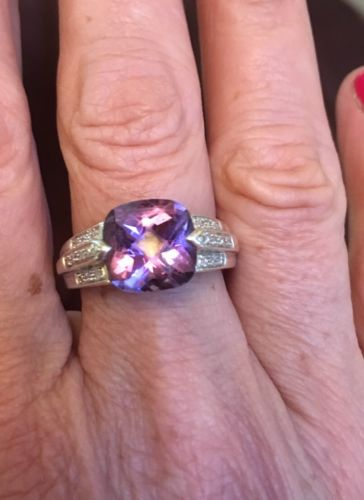Lorenzo Sterling Faceted Cushion Cut Amethyst & Diamond Ring 8 Art Deco