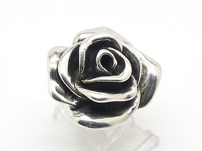 Fine Puffy Flower Rose Design Sterling Silver 925 Ring 8g Sz.8 Y2110