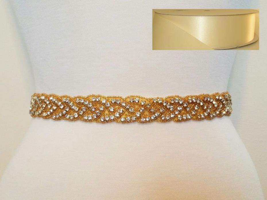 Wedding Bridal Sash Belt, GOLD CLEAR RHINESTONE Sash Belt = IVORY SATIN SASH