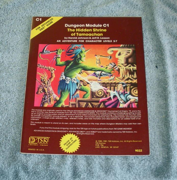 1981 TSR ADVANCED DUNGEONS & DRAGONS MODULE C1 The Hidden Shrine of Tamoachan
