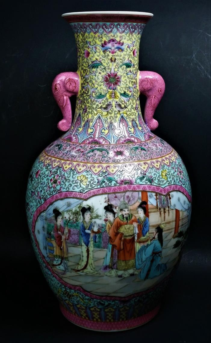 Chinese Art Pottery Porcelain Hand Painted Vase Famille Rose two Elephant Handle