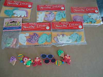 LOT: Misc. Assorted & 7 Packs of Vintage ANIMAL FIGURAL NOVELTY ERASERS Taiwan