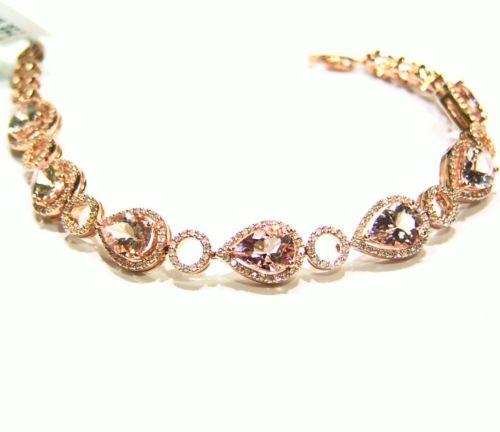 9.65CT 14K Gold Natural Morganite White Cut Diamond Engagement Tennis Bracelet