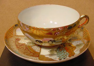 Vintage Heavy Gold Hand Painted Teacup & Saucer Made in Japan