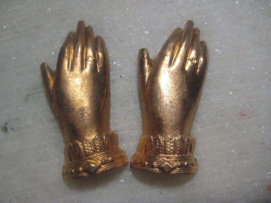 Vintage Hand Stamping, 1940s French Die Struck Brass, Victorian Style Cuffs 1 Pr
