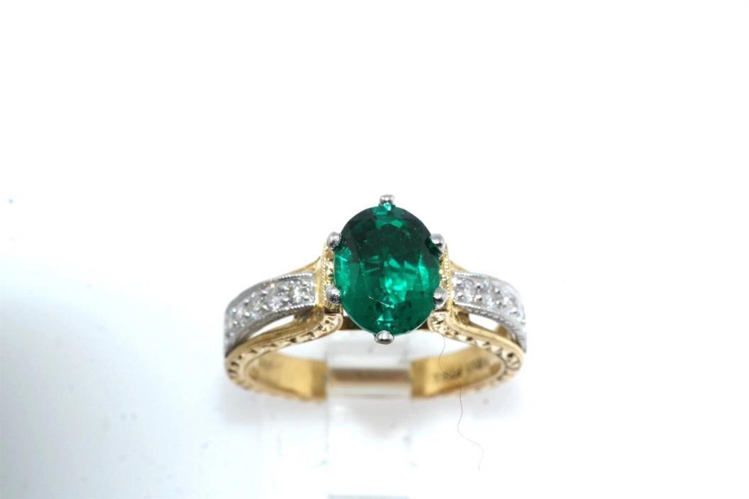 Designer Chatham Emerald & Diamond 18k Yellow Gold Platinum Ring