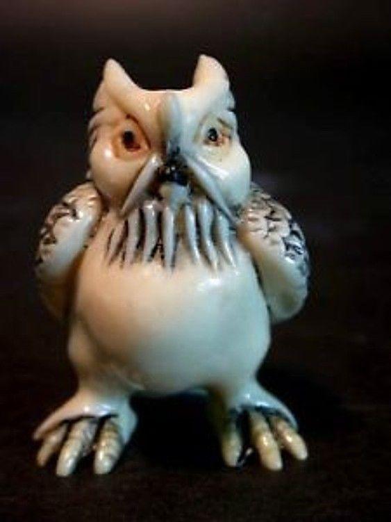 Vintage Japanese netsuke -professor owl likes to teach