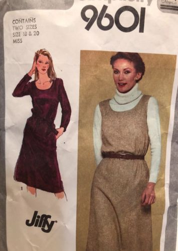 Vintage Sewing Patterns Jiffy Simplicity #9601 Woman Size 18 and Size 20 Dress
