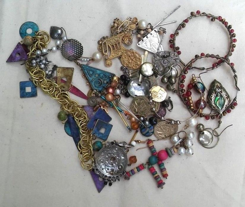 Vintage Destash Jewelry Lot, (some vtg)  two pairs handmade earrings, singletons