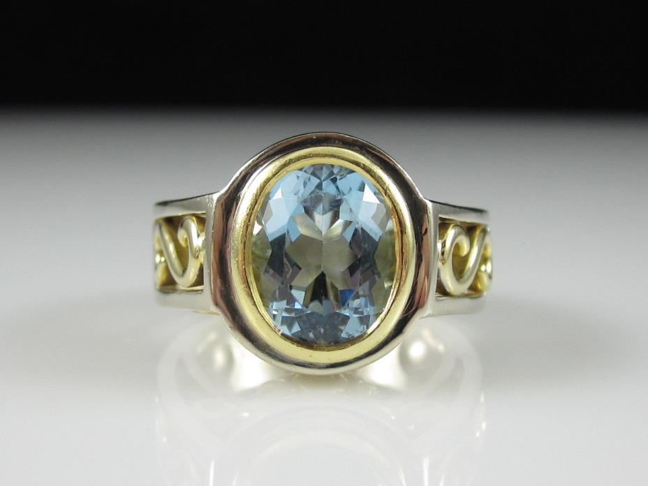18K Aquamarine Diamond Ring Two-Tone 2.31ctw 11.7gr Signed Designer Size 6