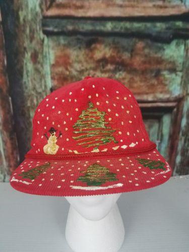 Red Corduroy Christmas Tree flat bill Baseball Cap trucker hat