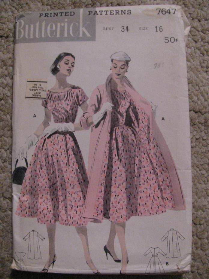 1956 Women's Dress & Coat Sewing Pattern Butterick #7647 size 16/34