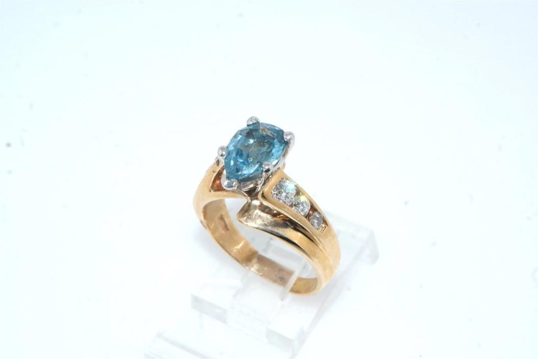 Pear Shaped Blue Topaz & Diamond 14k Yellow Gold Ring