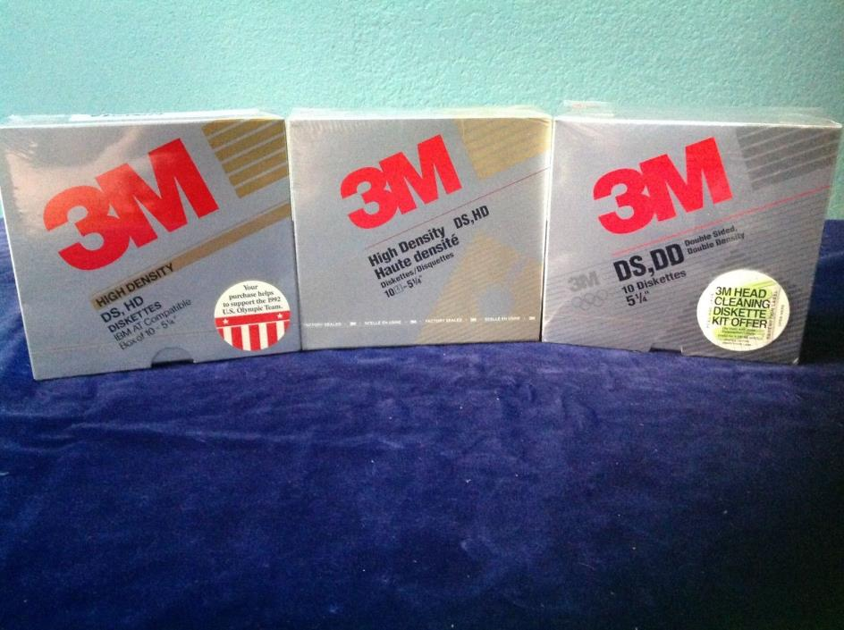 "New 3M 5.25"" Diskettes 3 SEALED Boxes 10 per Box Floppy Disks DD, DS, HD"