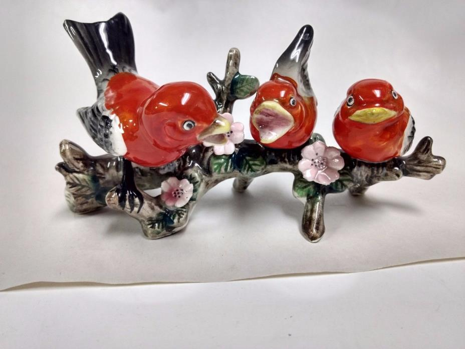 Tanager Porcelain Hand Painted Singing Red Birds On A Tree Branch Glossy   hd108
