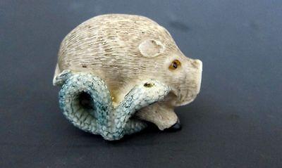 Estate Japanese ivory colored bone netsuke -Green Snake running with Wild boar
