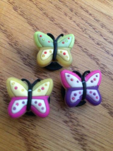 3 BUTTERFLY Jibbitz Croc Clog Shoe Charms