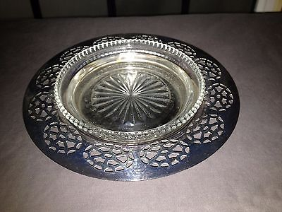 VINTAGE Silverplate Champagne Wine Coaster w Glass Insert Wm A Rogers NICE 2 PC