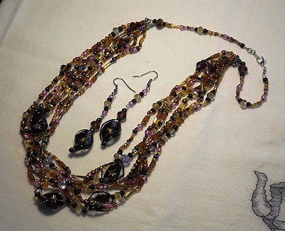 Lampwork Glass Twist Helix 6 Strand Necklace and Earrings