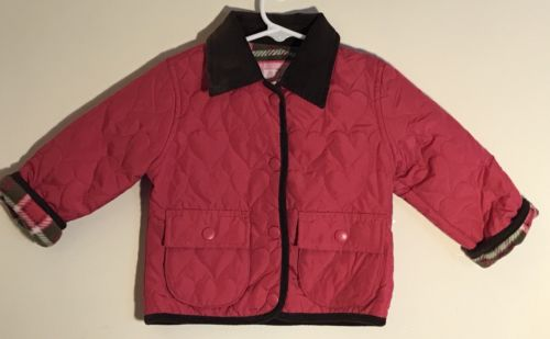 Weather Tamer Baby Girl's 6/9M Quilted Pink Jacket Brown Corduroy Collar/Trim