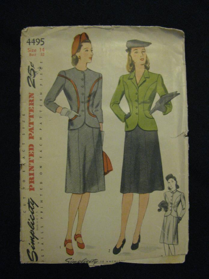 1940's Women's two piece suit princess cut- Simplicity Pattern #4495-sz 14/32