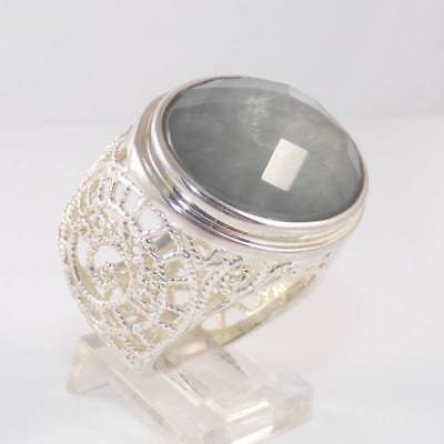 Sterling silver Large Filigree Large Gray Quartz Cocktail Ring Size 8.5