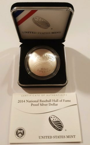2014 Baseball Hall of Fame Commemorative Proof Silver Dollar with Box and COA