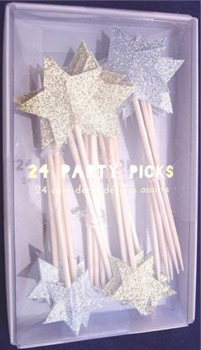 NIB Meri Meri Gold & Silver Glitter Star Party Picks Cupcake Toppers, Box of 24