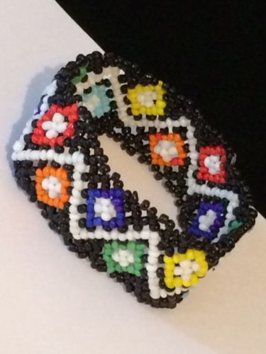 Chevron Diamond Design Peyote Stitch Colorful Stretch Bracelet #X7