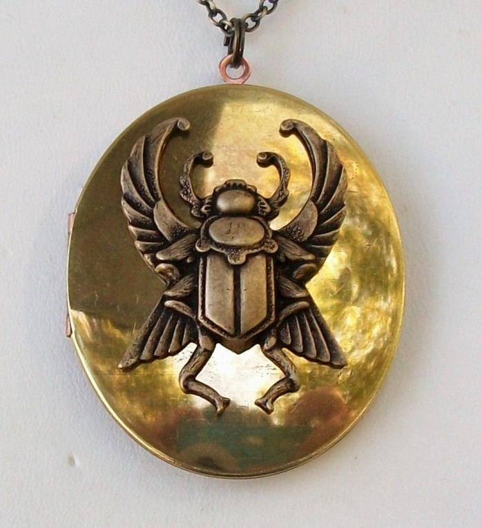 Egyptian Beetle Scarab VINTAGE LOCKET Necklace Imortality Khapri Magic Powers
