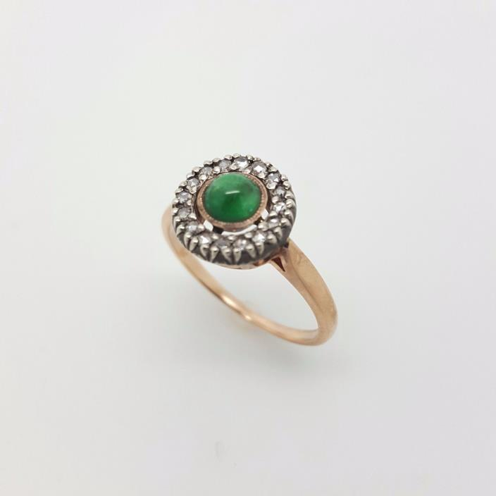 Vintage Russian 14 k Pink Gold  0.25 ct Rose Diamond Emerald   Engagement Ring