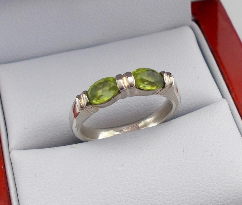 Sterling Silver Ring Set w/2 Green Peridot Stones Signed CI,Size 6.25