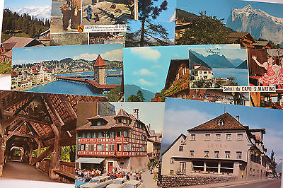 Postcard 11 Switzerland Sites Lucerne Hotel Lowen Lake Brienz Matterhorn Unpost