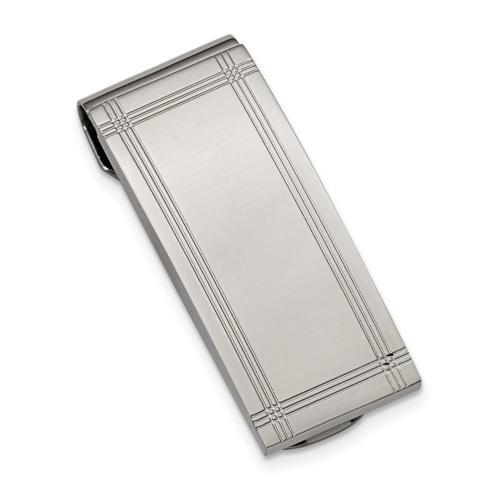 Chisel Stainless Steel Polished and Grooved Money Clip 50mm