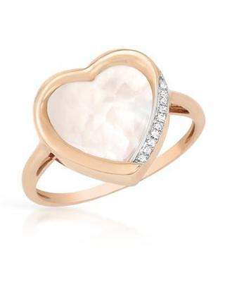 VIDA 14K Rose Gold Heart Ring With Diamonds and Mother of pearl