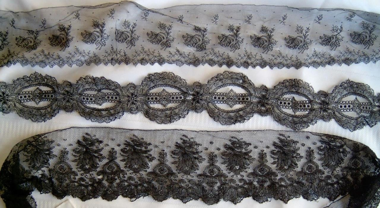 ANTIQUE LOT 3 VICTORIAN BLACK NETTED SCALLOP CHANTILLY FLORAL LACE FABRIC TRIMS