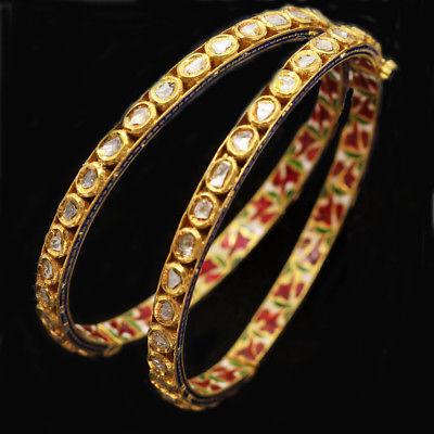 Vintage Pair Bangle Bracelet Gold Diamonds Minakari Minaar Enamel India (#4918)
