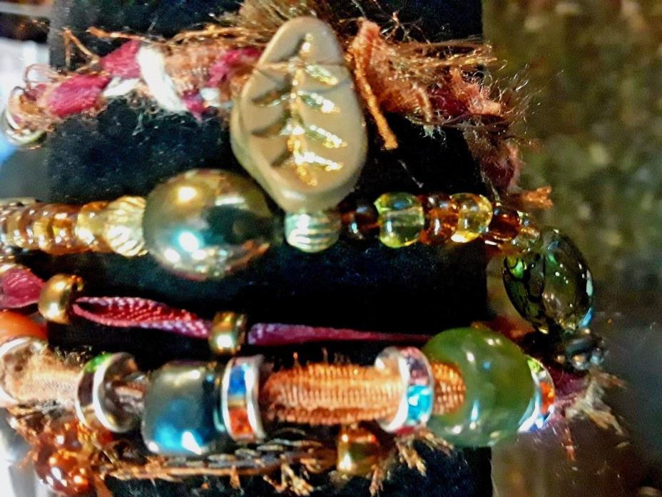 HANDMADE BOHO HYBRID OLD / NEW CRYSTAL ,GLASS, ACRYLIC BEADS WRAP BRACELET