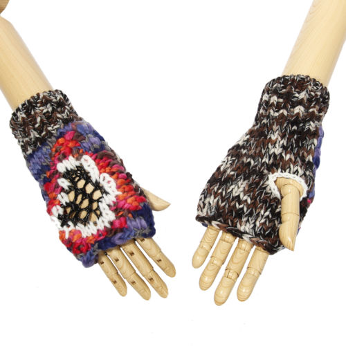 Soft Warm Abstract Mixed Colors Wrist Warmers One Size Fits Most Style Set 2