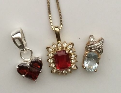 STERLING VERMEIL PENDANT LOT CHAIN HEART BLUE RED STONES